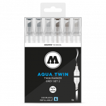 AQUA TWIN 1mm brush / 2-6mm chisel 6x - Grey-Set 2 - Clear Box